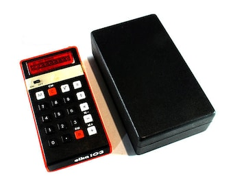 Vintage Calculator, Elka 103, Red Portable Calculator, Pocket Calculator, Led Displ, Desk Accesories , Made in Bulgaria, Plastic Case