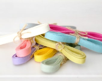 "Eco Friendly Cotton Ribbons Bundle ""Samplers""- 5 Yards - 100% Cotton Ribbons - 1/4"" wide - 1 Yard Each color you choose - Cotton Ribbons"