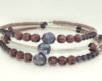 Czech Glass Beads Fire Polish Purple Bracelet