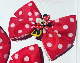 Disney Inspired Minnie Mouse Bows - Lace detailing - 'softie' baby headband available - Bunchie Bows
