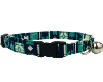 Modern Southwestern Inspired Colorful Striped Safety Breakaway Cat or Kitten Collar