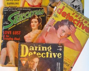 5 Vtg Detective Magazines 1938-1942   (482)