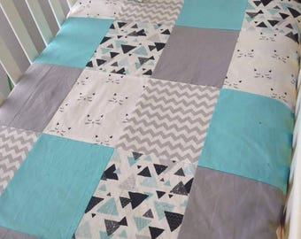Baby blanket coutepointe infant - size crib - cat - turquoise - chevron - gray