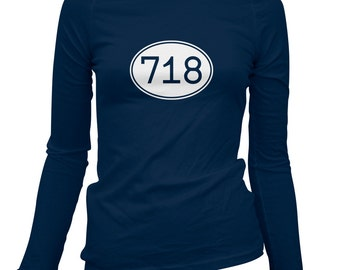 Women's Area Code 718 NYC Long Sleeve Tee - S M L XL 2x - Ladies' New York City T-shirt, Brooklyn, Bronx, Staten Island, Queens - 3 Colors