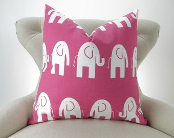 Pink Elephant Floor Pillow Cover -up to 28x28 inch- Big Pink Pillow, Zoo Nursery, Ele Candy Pink Premier Prints, FREESHIP