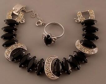Sarah Coventry VIENNA NIGHTS Bracelet & Jet Navette Black Marquise Ring, Sarah Cov