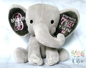 Birth Announcement Elephant, Birth Stat Elephant, Keepsake Elephant, Baby Keepsake, New Baby Gift, Personalized Elephant, Baby Shower