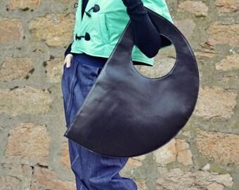 Genuine Leather Bag TLB01, Extravagant Black Leather Bag, Black Tote, Large Leather Tote
