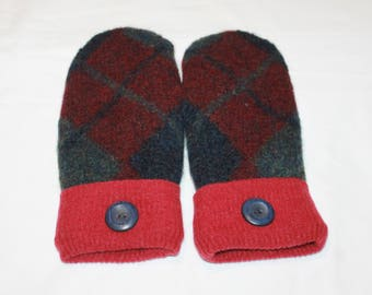Felted Wool Mittens - Upcycled Wool Mittens  - Sweater Mittens - Red/Cranberry/Green -   Womens or Teens -  Size Medium