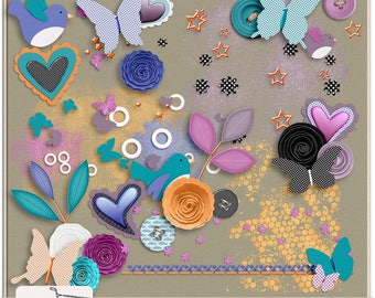 Dream Big Extra Digital Scrapbook Elements and Scatters
