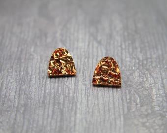 Archer Laser Cut Acrylic Arch Stud Earrings in Chunky Copper