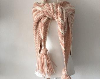 Handmade Crochet shawl dusty rose and cream