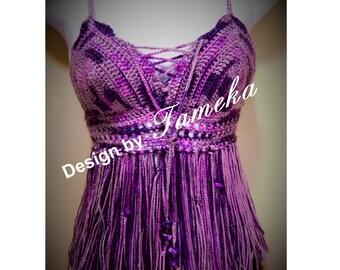 "Bohemian Fringe Halter (Pattern Only) ""Purple Rain"""
