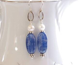 Blue Kyanite Earrings Gemstone Dangle Sterling Silver Bali Bead Pearl Blue White Country Wedding Bridesmaid Earrings Handmade Jewelry