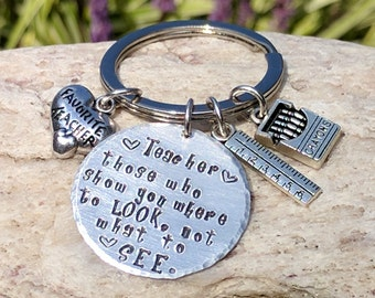 Teacher keychain, Teacher key chain, Teacher gift, Teacher appreciation, Appreciation gift, Keychain gift, Stamped keychain Free shipping