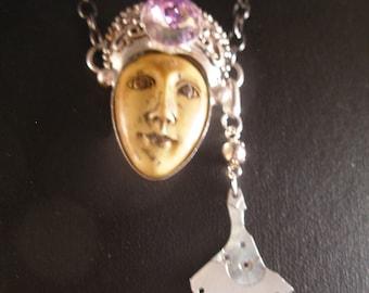 Necklace pendant steampunk carved bone face   TrashionTeam, WWWG, paganteam, OlympiaEtsy, FunkyAlternativeJewelry, GeekyFreakyUnique-y