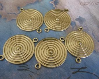 2 PC Raw Brass  Medallion / Shield Finding - 22 mm - UU06