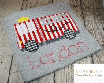 Custom Firetruck Shirt - Embroidered with Name ~ Fireman, Firetruck, Embroidered, Monogrammed, Applique ~ Many Sizes Available