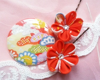 SALE - Dancing Orange Flowers -- Silk Kimono Fabric Flower Hair Pins And Pocket Mirror Set