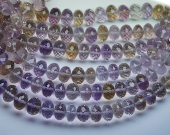 16 Inch Strand,358 Carats,Very Rare,NATURAL AMETRINE Micro Faceted Rondelles,9.5-14mm