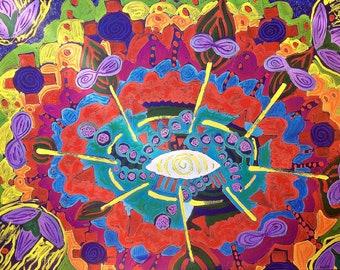 Golden Eye - extra large original mixed media painting