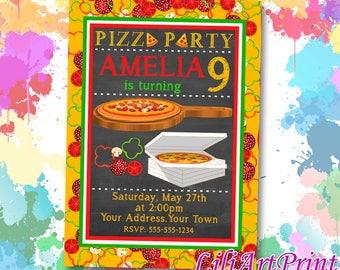 Pizza Party birthday invitation, pizza invite, pizza party birthday party, Digital file(15)