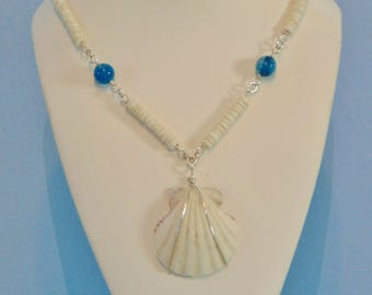 Mother of Pearl Shell Sterling Silver Statement Necklace