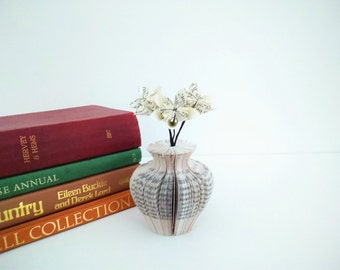 Mini Paper Vase Urn Shaped with Book Paper Flowers Book Art - Mother's Day Gift idea - Origami flowers