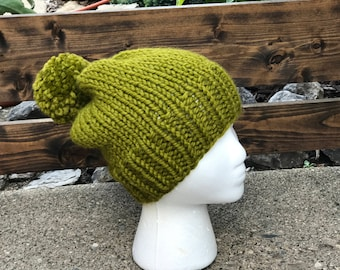 Knit slouchy hat with matching pompom