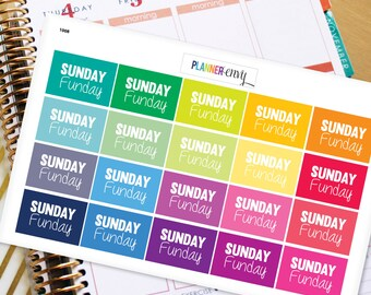 Weekend Planner Stickers Erin Condren Life Planner (ECLP) - 20 Sunday Funday Stickers (#1008)