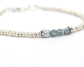 Silver Bracelet, Blue Bead Bracelet, Friendship Bracelet, Silver Glass Beads, Beaded Bracelet, Tiny Beaded Bracelet, Seed Bead Bracelet