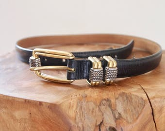 vintage black leather belt with two tone hardware
