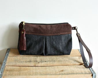 Clutch purse, Wristlet, Pouch, fall style, makeup pouch, denim purse, everyday purse- Ready