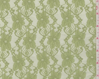 Celery Green Stretch Lace, Fabric By The Yard