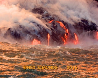 "Big Island of Hawaii Kiluea Volcano Molten Lava Flowing Into The Ocean  11""X14"""