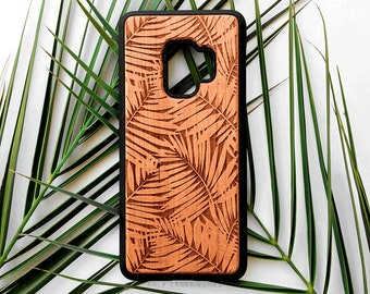 Galaxy S9 Plus Case, Galaxy S9 Wood Case, Samsung S8 Plus Case, S7 Edge, S6, Palm Tree Leaves Wooden Phone Case, For Her, Him, Guys, Summer