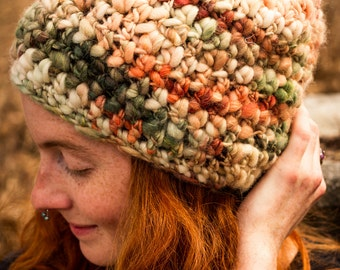 Salmon Fishing - OOAK Handspun / Hand - Dyed Wool hat - Somewhat Slouchy style
