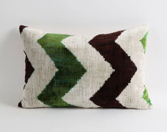 ikat pillow, velvet ikat pillow cover, 12x18 ikat pillow, handwoven decorative pillow, accent pillow, throw pillow