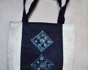 Handmade Hmong Indigo Batik cotton Tote / Shoulder bag