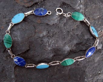 Lapis Malachite and Turquoise Ensemble Link Bracelet in Sterling Silver
