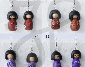 Traditional Japanese dolls Kokeshi-earrings