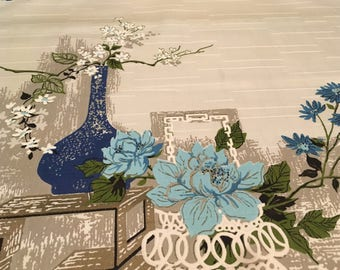 Vintage - 1970's Riverdale Asian blossoms in vase and potted on med weight off-whitr rayon/acetate blend