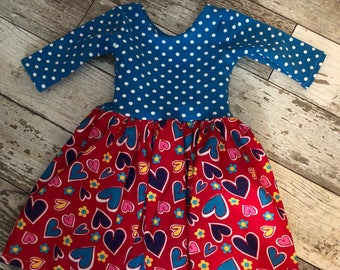 Little Girls Valentine Red Heart Dress