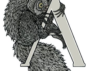 Aye-Aye - Alphabet Print - Unique Gift - Letter A - Name Gift