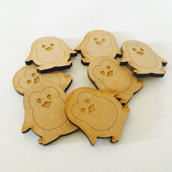 Lasercut Craft Wood Penguin.  Set of 2. 35mm Wide Penguin. Made of Craft Wood Perfect for Embellishing, Wood , Scrapbooking Supplies