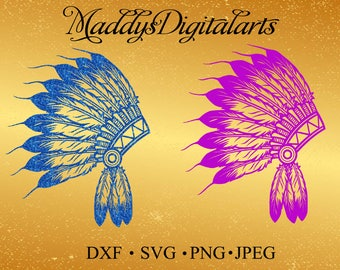 headdress SVG File,Pow Wow Headdress SVG File,Western SVG File-Vector Clip Art for Commercial-Personal Use-Cricut,Cameo,Silhouette