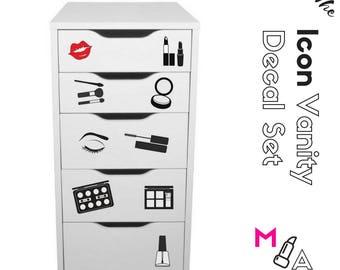 ICON DECAL SET: Makeup Vanity Stickers Decals Makeup Organization Set of fifteen (15) decals