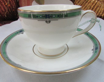 VINTAGE - From England - Wedgwood Jade Teacup and Saucer