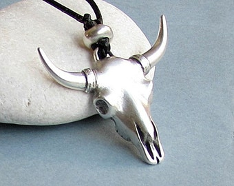 Bull Head Mens Silver Necklace Pendant Gunmetal Long Leather Horns Necklace Pendant Adjustable