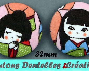 Fabric buttons - Kokeshi - Japanese dolls - 32mm (14-32)